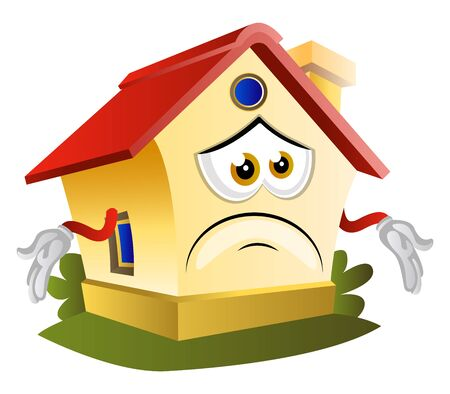 House don't have an idea, illustration, vector on white background.