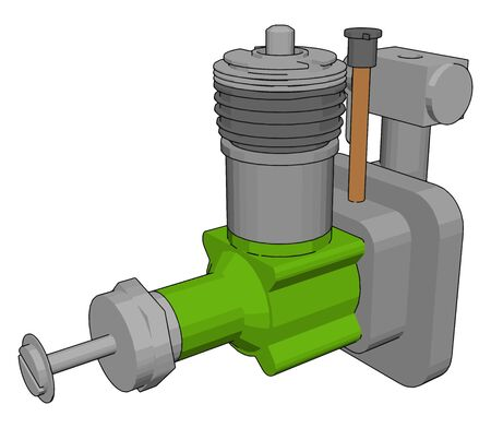Green sewage sump pump, illustration, vector on white background.