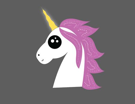 White colored unicorn with a yellow horn on its head, vector, color drawing or illustration.