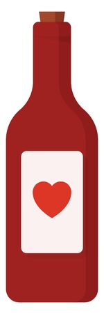 Red wine in a glass bottle with a red heart sticker on it, vector, color drawing or illustration. Banque d'images - 132696345