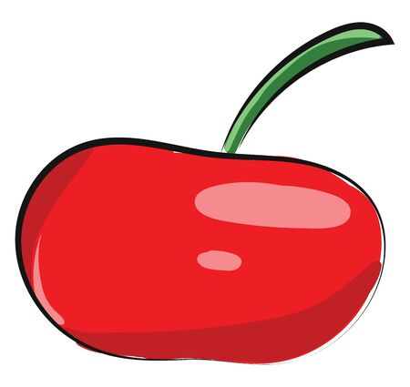 Red apple with green leaf, healthy, tasty, juicy fruit, vector, color drawing or illustration.