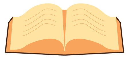 Open book with many pages cream in color and lines on it, vector, color drawing or illustration.