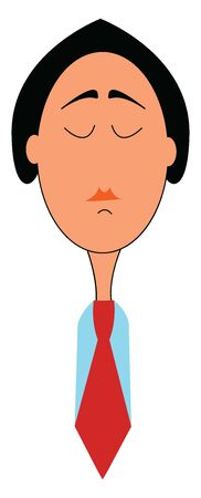 Cartoon picture of a woman in a red tie, a blue shirt has cropped hairstyle and painted her lips in orange and with her eyes closed looks upset about something, vector, color drawing or illustration.