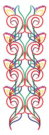 Multi-colored ornaments, purple, yellow, blue, green, red, vector, color drawing or illustration.