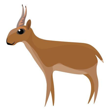 An antelope with short tail, vector, color drawing or illustration.