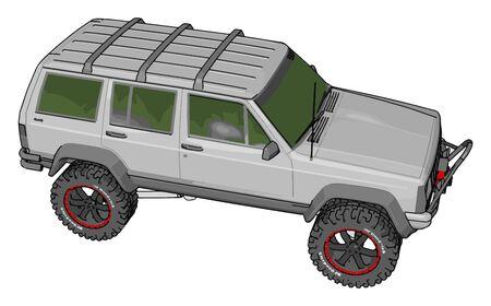 White vehicle, illustration, vector on white background.