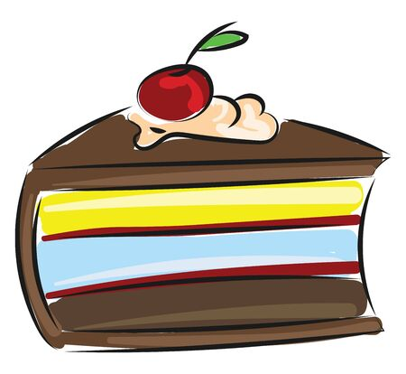 It is called cherry cake because cherries are mixed with other cake making ingredients for making it. It is a British cake making recipe., vector, color drawing or illustration. Ilustração