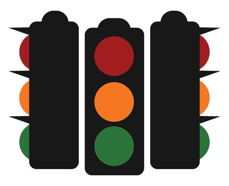Three traffic lights with three colors, orange, red and green, vector, color drawing or illustration.
