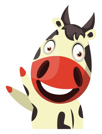 Cow cheerfully waving, illustration, vector on white background.