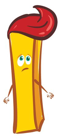 A sad french fries with ketchup on its head is frowning, vector, color drawing or illustration.