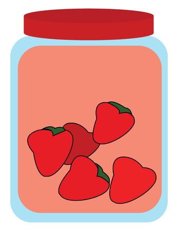 A blue coloured bottle with jam inside and fresh strawberries also, vector, color drawing or illustration.