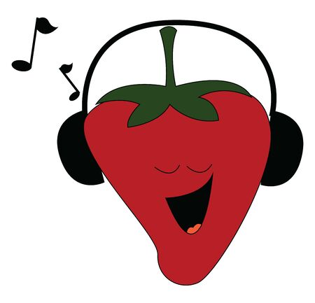 Strawberry listening music on earphone and singing along, vector, color drawing or illustration.