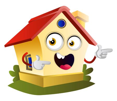House is pointing with fingers, illustration, vector on white background.
