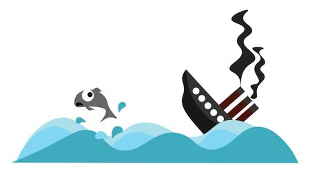 A sinking ship in the sea with fishes around, vector, color drawing or illustration. Vettoriali