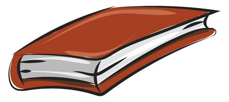 A book contains pieces of paper, usually with text in hand written or printed form and bound in covers. , vector, color drawing or illustration.