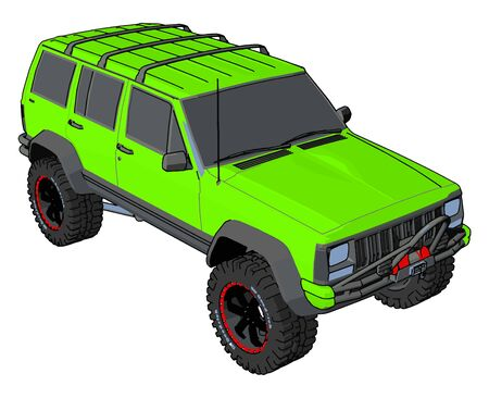 Green off road vehicle, illustration, vector on white background.