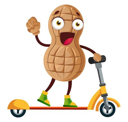 Peanut riding electric scooter, illustration, vector on white background. Vectores