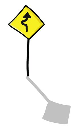 A yellow color road sign with black stand, vector, color drawing or illustration. Ilustração