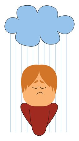 A boy standing in the rain getting drenched, vector, color drawing or illustration.