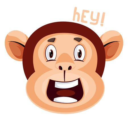 Monkey is saying hey, illustration, vector on white background. Иллюстрация
