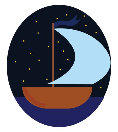 Brown colored boat with blue mast, vector, color drawing or illustration.