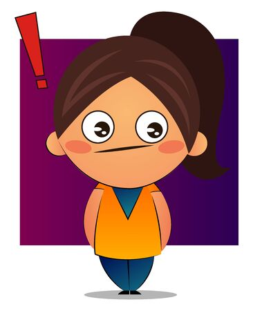Girl with brown ponytail with exclamation mark, illustration, vector on white background.