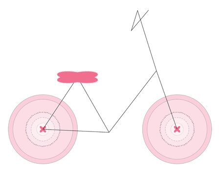 A pink colored minimalistic girls bicycle with two pink colored tires and a pink colored seat, vector, color drawing or illustration.