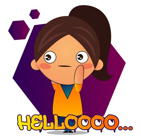 Girl with brown ponytail says hellooo, illustration, vector on white background.