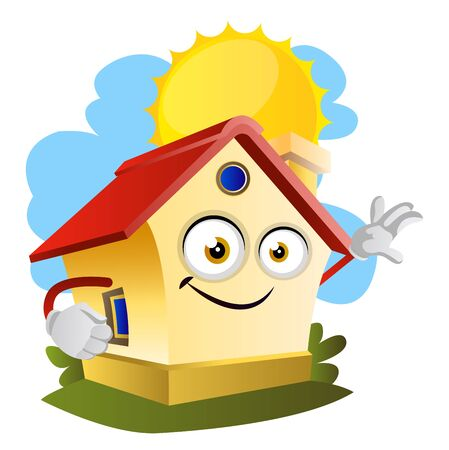 House on a sunny day, illustration, vector on white background. Vetores