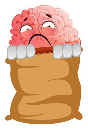 Brain is frightened, illustration, vector on white background.
