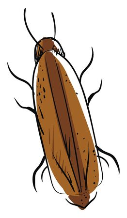 Brown cockroach, illustration, vector on white background.