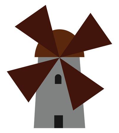 A wind mill having four blades with a grey colored stand and brown colored blades used for generating power, vector, color drawing or illustration. Illustration