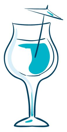 A blue colored cocktail in a transparent glass, vector, color drawing or illustration.