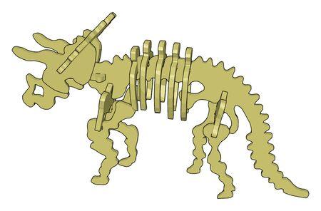 3d dinosaurus skelet, illustration, vector on white background. Vectores