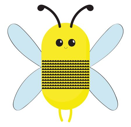A bee is winged insect which makes honey and can sting., vector, color drawing or illustration.