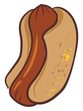 A mouth-watering hot dog with sausage serves as a snack. Also with some yellow toppings on it, vector, color drawing or illustration. Illusztráció