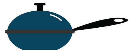 Blue colored pan with a blue colored lid, vector, color drawing or illustration.