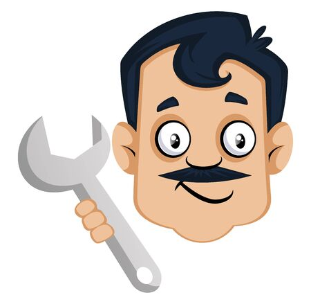 Man is holding wrench, illustration, vector on white background.