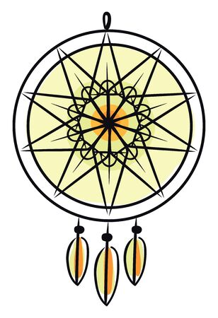 A large yellow dream catcher wall hanging modern home decoration with colorful plastic beads and natural materials processed into exquisite handicrafts, vector, color drawing or illustration.
