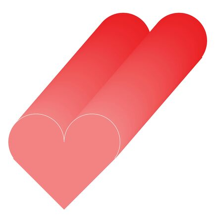 A coloured illustration of a red shape of heart, vector, color drawing or illustration. Illustration
