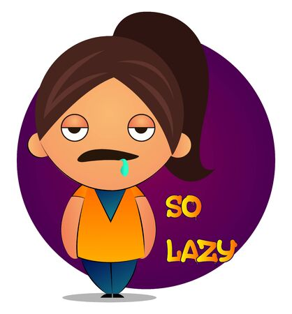Lazy girl with brown ponytail and purple background, illustration, vector on white background.