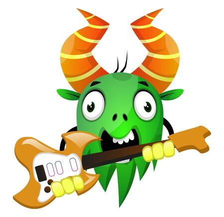 Cartoon monster holding an electric guitar, illustration, vector on white background.  イラスト・ベクター素材