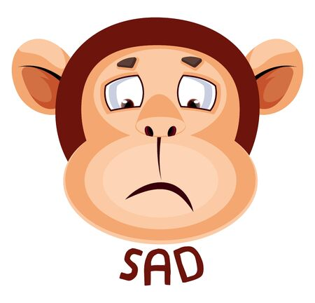 Monkey is sad, illustration, vector on white background.