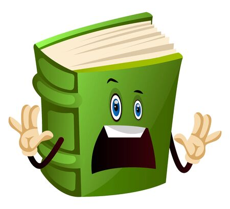 Green book is scared, illustration, vector on white background.