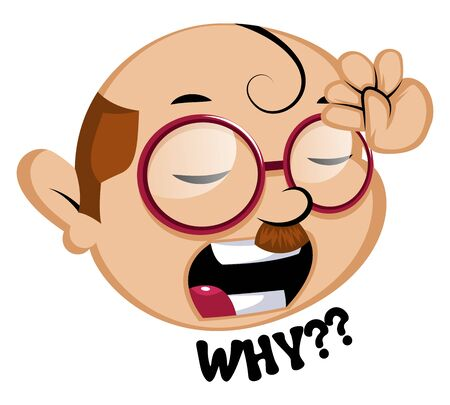 Funny human emoji with a why signal, illustration, vector on white background.