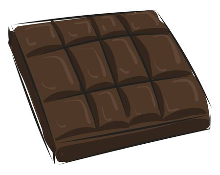 It is a milk chocolate made from chocolate liquor with sugar and cocoa butter and powdered milk., vector, color drawing or illustration.