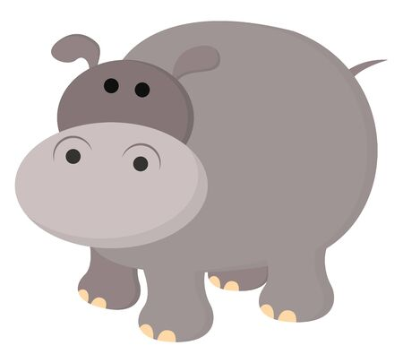 A illustration of a hippopotamus., vector, color drawing or illustration. Иллюстрация