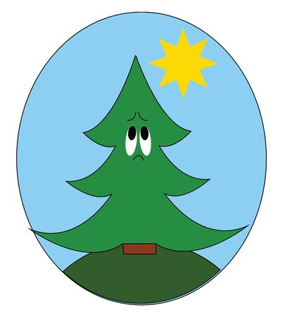 A green tree with two sad eyes and a short brown trunk, vector, color drawing or illustration.