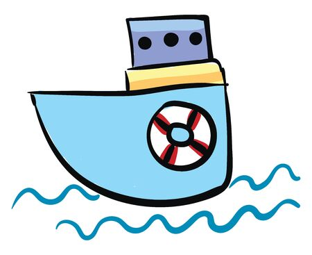 Small blue colored boat sailing in the sea, vector, color drawing or illustration.