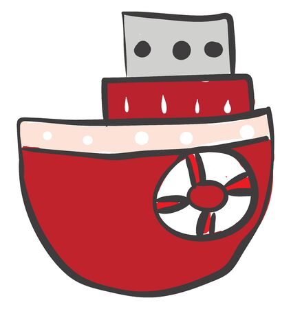 A red colored boat with scarlet sails, vector, color drawing or illustration.